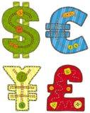 Patchwork-Währungszeichen Stockfotos
