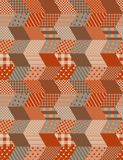 Patchwork in warm autumn colors. Ethnic boho seamless pattern. Royalty Free Stock Image