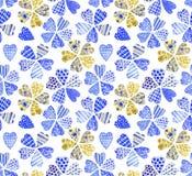 Patchworkblumen Nahtloses Muster des Aquarells Lizenzfreie Stockbilder