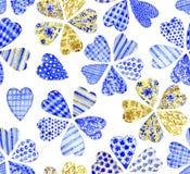 Patchworkblumen Nahtloses Muster des Aquarells Stockfotografie