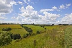 Patchworkfelder in den Yorkshire-Wolds Stockfotos