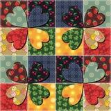 Patchworkhintergrund mit verschiedenen Mustern Stockbilder