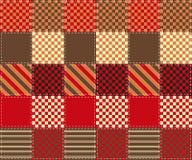 Patchworkmodell av färgrika fyrkanter med enkla geometriska prydnader Royaltyfri Fotografi
