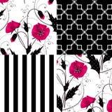 Patchworknahtloser Blumenmohnblumenmuster-Verzierungshintergrund Stockbild
