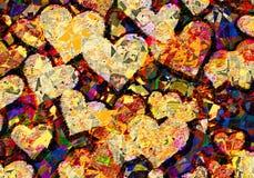 Patchworkstilbild av många hjärtor Fotografering för Bildbyråer