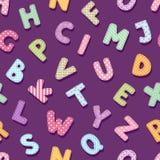 Patchworku abecadła typografii listów rocznika szyka stylu ślicznej dekoraci wektorowy ilustracyjny bezszwowy deseniowy tło ilustracji