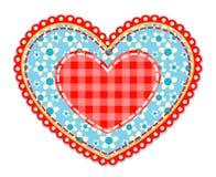 Patchworku błękitny i czerwony serce Fotografia Royalty Free