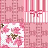 Patchworku bezszwowy koronkowy kwiecisty deseniowy tło Zdjęcie Royalty Free