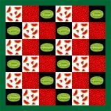 Patchworku bezszwowy wzór, arbuz deseniował patchwork kołderkę Obrazy Stock