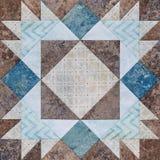 Patchworku geometryczny blok od kawałków tkaniny, szczegół quil Obrazy Royalty Free