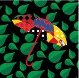 Patchworku parasol na bezszwowym liścia wzorze Obraz Royalty Free