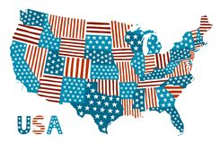 Patchworku stylu mapa Stany Zjednoczone ilustracji