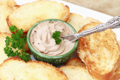 Pate. And toast with a sprig of parsley. Shallow DOF Royalty Free Stock Photography