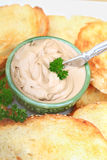 Pate. And toast with a sprig of parsley.  was prepared from chicken liver. Shallow DOF Stock Photo