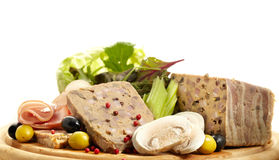 Pate. Traditional Spanish liver pate with mushrooms on white Stock Photo