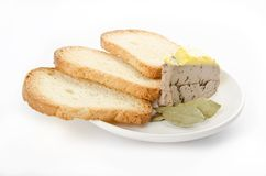 Pate with bread. Fois grass and toast on white Royalty Free Stock Image