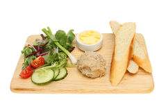 Pate bread and salad Stock Photos