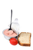 Pate with bread and tomato steel spoon Stock Photo
