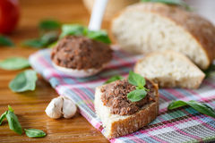 Pate with bread Royalty Free Stock Images