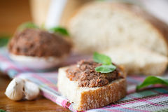 Pate with bread Royalty Free Stock Photography