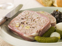 Pate Campagne with Cornichons and Confit Onions Stock Images