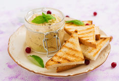 Pate Chicken - rillette, toast and herbs Royalty Free Stock Photography