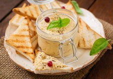 Pate Chicken - rillette, toast and herbs Royalty Free Stock Photos