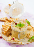 Pate Chicken - rillette, toast and herbs Stock Photography