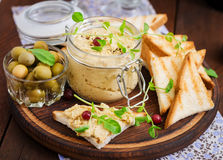Pate Chicken - rillette, toast, olives and herbs Stock Image
