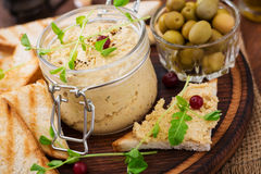 Pate Chicken - rillette, toast, olives and herbs Stock Photography
