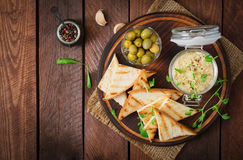 Pate Chicken - rillette, toast, olives and herbs Stock Images