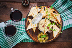 Pate Chicken - rillette, toast, olives and herbs Royalty Free Stock Images