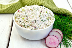 Pate of curd and radish on board Royalty Free Stock Image