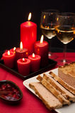 Pate easter dish with wine glasses Royalty Free Stock Photo