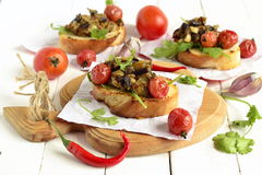 Pate eggplant with dried tomatoes and toast Royalty Free Stock Photos
