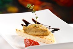 Pate för aptitretareFoie gras på rostat bröd royaltyfri bild