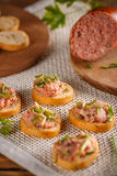 Pate with fresh baguette. Appetizer snacks Royalty Free Stock Photos