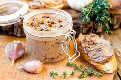 Pate in a jar. And sandwiches Stock Photography