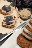 Pate liver chicken toast. Terrine bread royalty free stock image