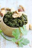 Pate with nuts and herbs. Spicy pate of crushed nuts and fresh coriander Stock Image