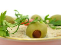 Pate, olives and parsley Stock Images