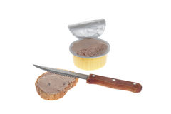 Pate in open can Royalty Free Stock Photography