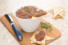 Pate of roasted eggplant, tomatoes and pieces of pita bread Royalty Free Stock Photos