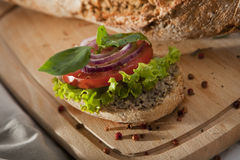 Pate Sandwich on Cutting Desk. Stock Images