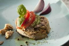 Pate Sandwich on Plate. Royalty Free Stock Photo