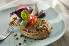 Pate Sandwich on Plate. Stock Photography