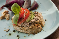 Pate Sandwich on Plate. Royalty Free Stock Photography