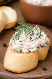 Pate of smoked fish with sour cream and dill on toast Royalty Free Stock Photography