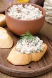 Pate of smoked fish with sour cream and dill on toast Stock Photography