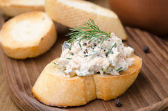 Pate of smoked fish with sour cream and dill on toasted bread Royalty Free Stock Image